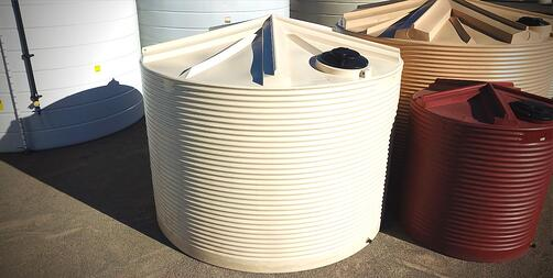 Different sizes of corrugated water tanks from Coerco