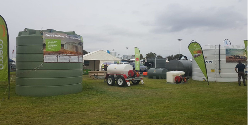 Coerco water, diesel, and liquid fertiliser storage tanks with fire fighting equipment at Wagin Woolorama